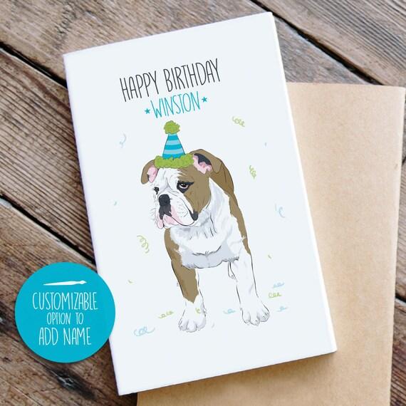 Bulldog Birthday Card Custom Dog Dad