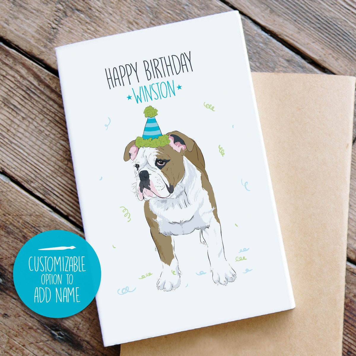 Bulldog Birthday Card Custom Dog Dad