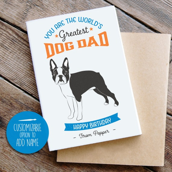 Boston Terrier Birthday Card From Dog Cool Vintage Style Etsy