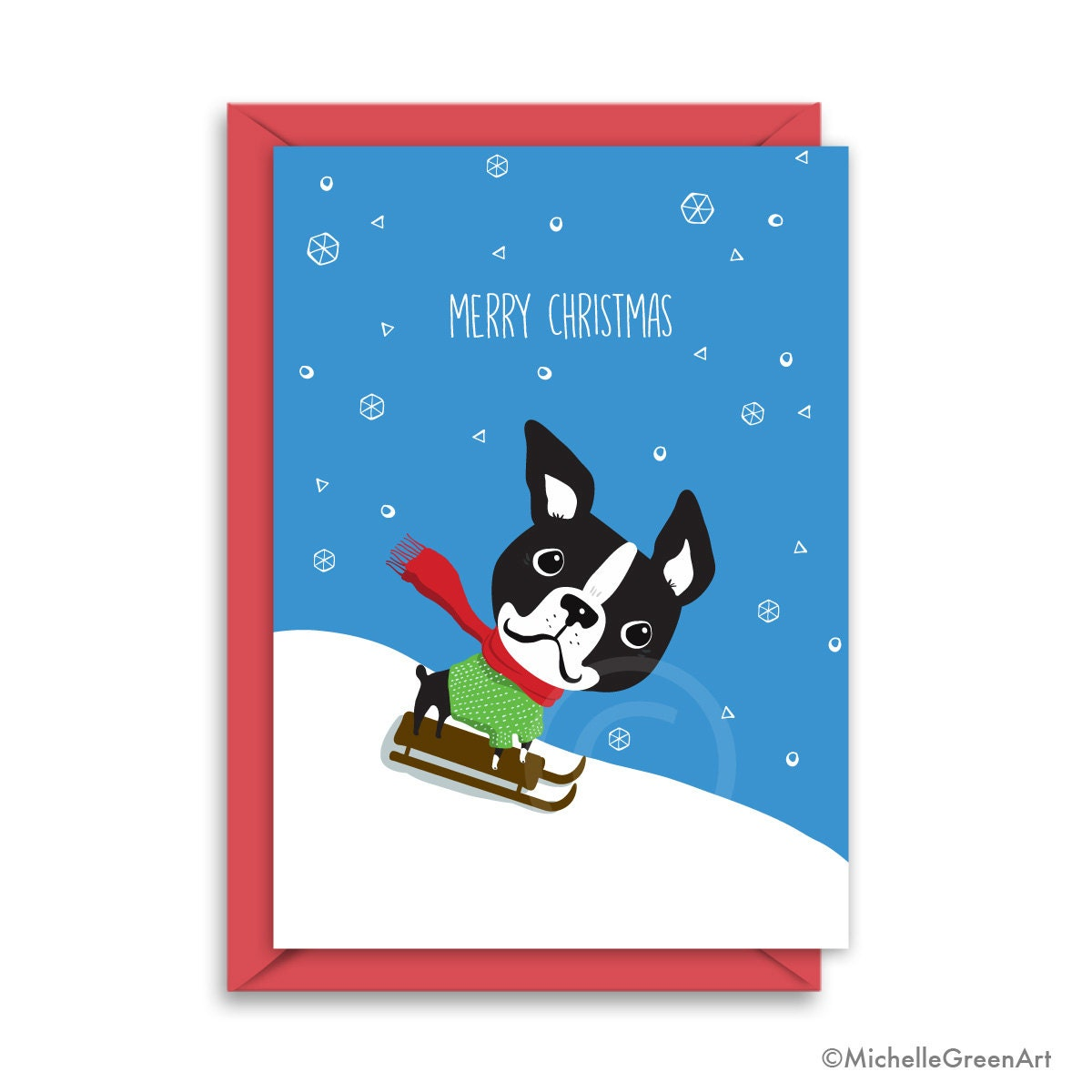 Boston Terrier Christmas Card Boston Terrier Snow French | Etsy