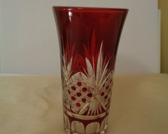 Red Bohemian Cut to Clear Double Shot Glass