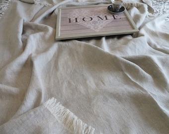 THROW BLANKET LINEN (350gr/m2) Heavy Weight Linen Blanket Throw Flax Grey Linen Prewashed Summer Blanket Linen Soft Bedspread Beach