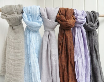 LINEN SCARF SUMMER 100% Linen Scarf Very Soft Grey Linen Scarf Blue Linen Shawl Summer Scarf Men's Linen Scarf Undyed scarf Father's Day