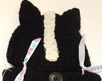 Skunk Baby Diaper Cover and Hat Set, Crochet Skunk, Woodland Crochet Baby Outfit Sets, Black and White Baby Outfits