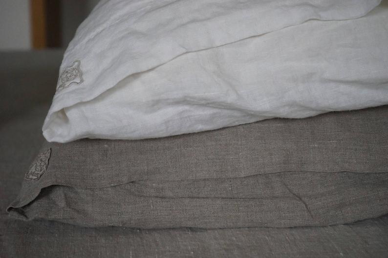 Dalle Stelle Linen Pillowcase Natural Stonewashed Soft Sham Euro Organic Flax King Queen Standard Pillow Case