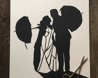 3D Rose Image of Hebrew Bride Silhouette Wall Clock 15 x 15