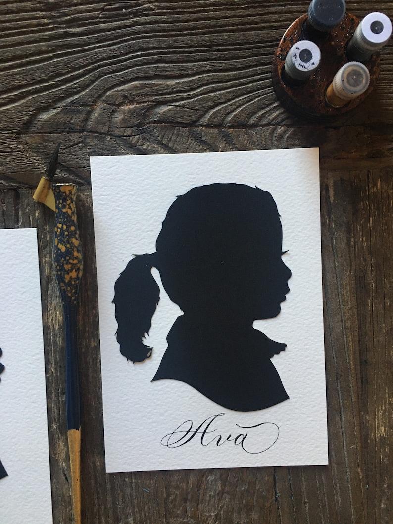 Personalized Child Silhouette Portrait Art Custom Hand Cut Silhouette Portrait Art