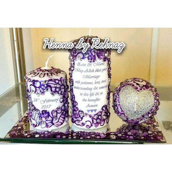 Personalised Henna Candles Mehndi Candles Mehndi Thaal Set Etsy