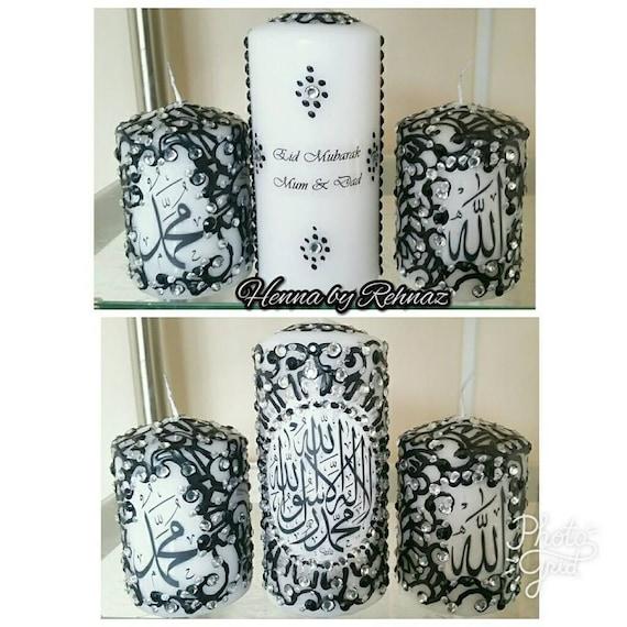 Islamic Candle Set Umrah Mubarak Candles Henna Candles Eid Etsy