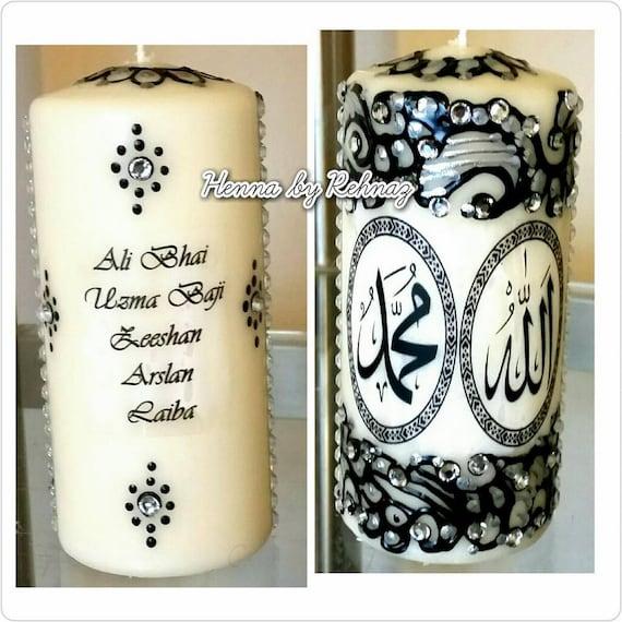 Large Islamic Candle 15cm Henna Candles Muslim Gift Eid Etsy