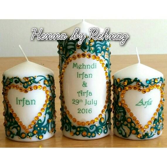 Mehndi Candlesmehndi Decor Henna Candles Mehndi Thaal Etsy