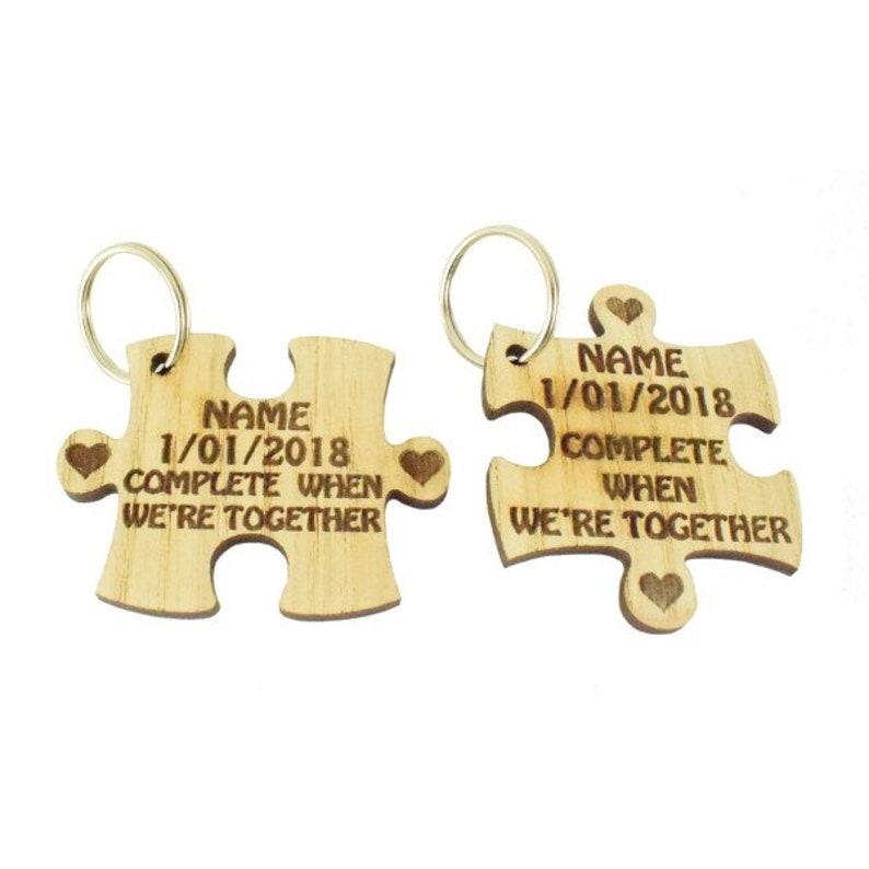 Personalised Set of couple Puzzle Key Rings,keyrings,wooden keyrings,wedding favours,Personalized Name keyring,Personalised Gift,couple gift