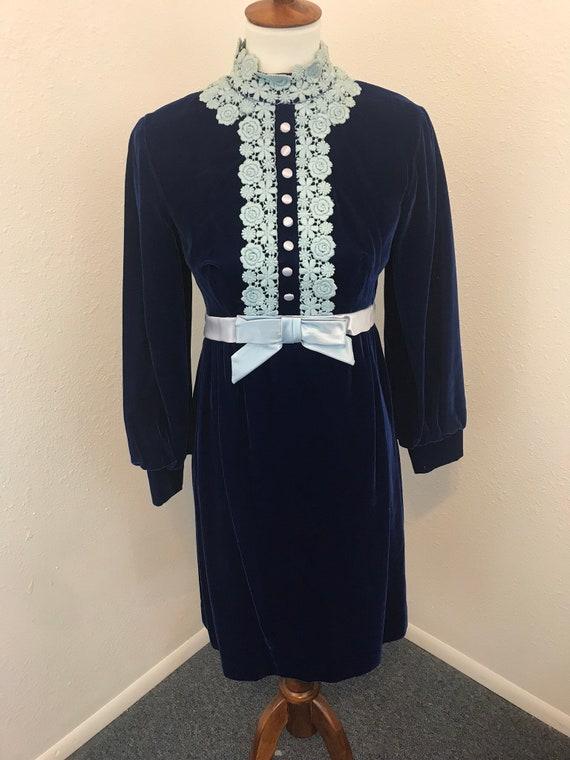 60s Vintage Velvet Royal Blue GoGo Dress
