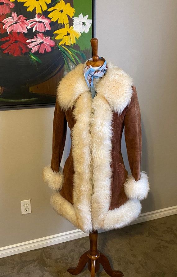 Vintage 1970s leather suede fur jacket