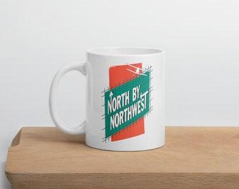 White ceramic mug North by Northwest Hitchcock Film