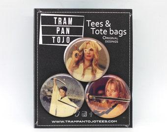 Kill Bill badge pack / Elle Driver / O Ren Ishii / Beatrix Kiddo / Tarantino Kill Bill badge pack