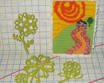 Largeuer petit Vintage, scène extérieur aux couleurs vives gras & groupe de 3 fleurs en vert par Homco, décoration murale des années 70