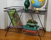Vintage Mid Century Table, Small Metal Stand, Black, Iron, Low Table, 39 60s
