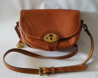 Vintage Dooney & Bourke Crossbody Bag, Cavalry, Camel Brown, All Weather Leather