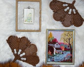 Vintage Wall Hanging Gallery, Pair of Burwood Plastic Fans, Mill Wheel House Crewel, Little Girl Sewing Plaque