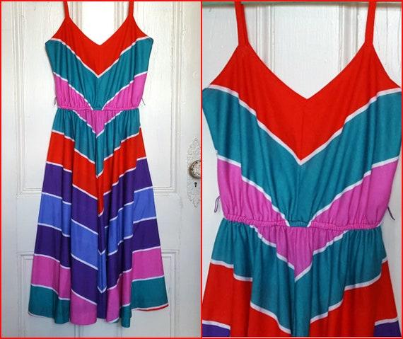 Vintage Lanz Original Summer Dress, Chevron, Color