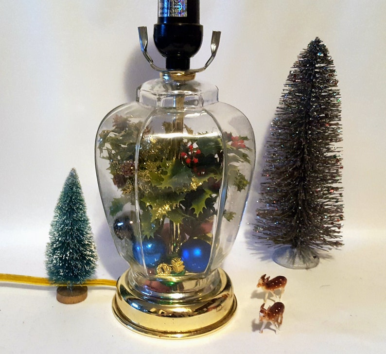 Vintage Glass Jar Christmas Lamp Faux Holly Leaves Berries Christmas Ornaments Ooak