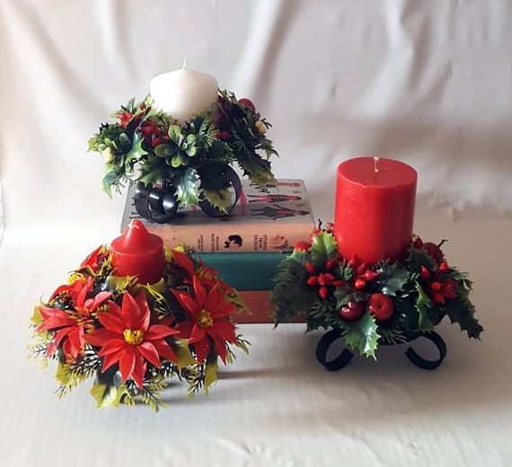Christmas Candle Rings.Vintage Set Of Christmas Candle Holders Candle Wreaths Rings Holly Berry Misteltoe Poinsettia Kitschy