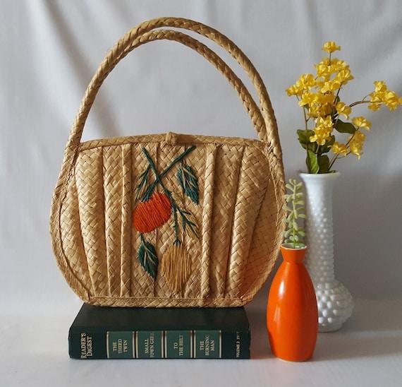 Vintage Straw Handbag, Woven, Embroidered Raffia,