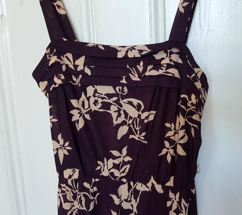 Vintage Purple-Brown Dress Belted /'70s Boho Floral Print Sleeveless Midi Length Leaves