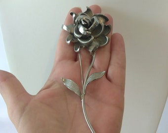 "Large 5"" Silver Tone Rose Brooch, Silver Long Stem Rose, Dimensional Rose, Floral Statement Brooch,  Silver Rose Brooch"