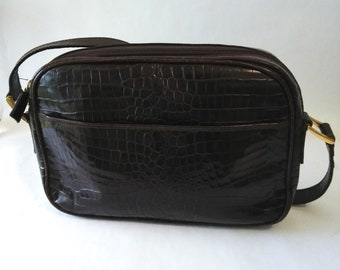 4ec3b30f3896 Vintage Talbots Genuine Leather Croc Embossed Crossbody Messenger Bag  Talbots Italy Crossbody Bag