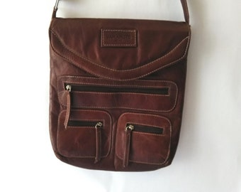 9df8e11b0a Vintage Yamamoto Leather Bag Brown Leather Crossbody Messenger Shoulder Bag