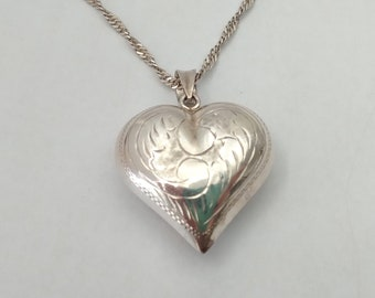 Best Co Silver Plate Puffy Heart Pendant sealed new in bag marked Best puffy style jewelry bail marked Best