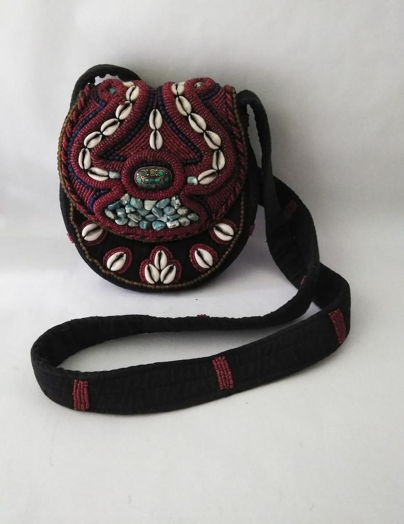 Black Fabric Purse Handbag Handmade Beaded Crossbody Bag Boho Purse Turquoise Cowrie Shell Red Bead Crossbody Shoulder Bag Handcrafted