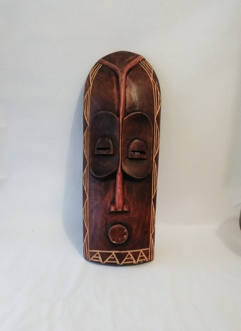 18 African Wooden Mask Hand Carved Wood Mask Wall Hanging Tribal Wall Art African Wood Sculpture Wall Art Handcrafted Kenya Wall Mask