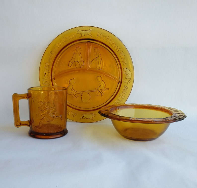 and Mug Tiara Exclusive Amber Glass Nursery Rhyme Children/'s 3 Piece Dinnerware Set Divided Plate Indiana Glass USA Bowl