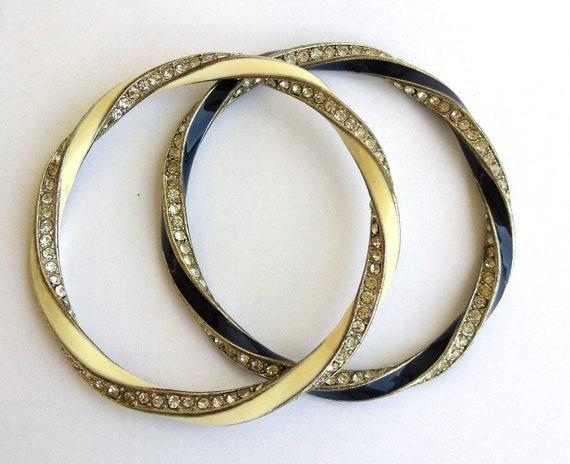 2e625217352 2 Twist Rhinestone Enamel Bangle Bracelets Blue & White | Etsy
