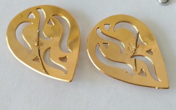 Monet Gold Flame Stud Earrings Mid Century Mod Go… - image 6