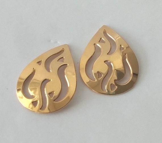 Monet Gold Flame Stud Earrings Mid Century Mod Go… - image 3