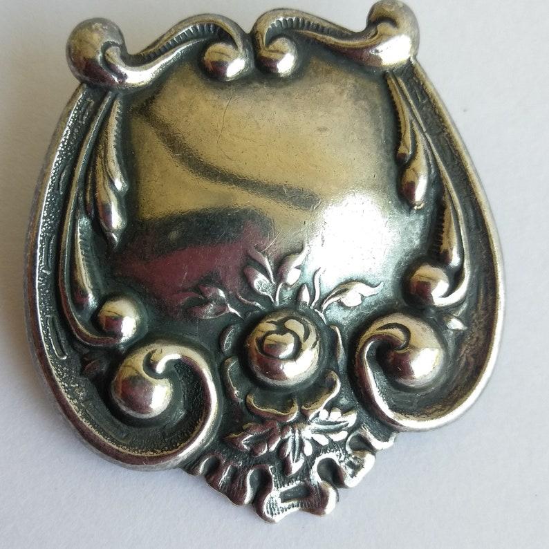 Silver Tone Pin Minimalist Brooch Mid Century Mod Victorian Silver Embossed Brooch Pin