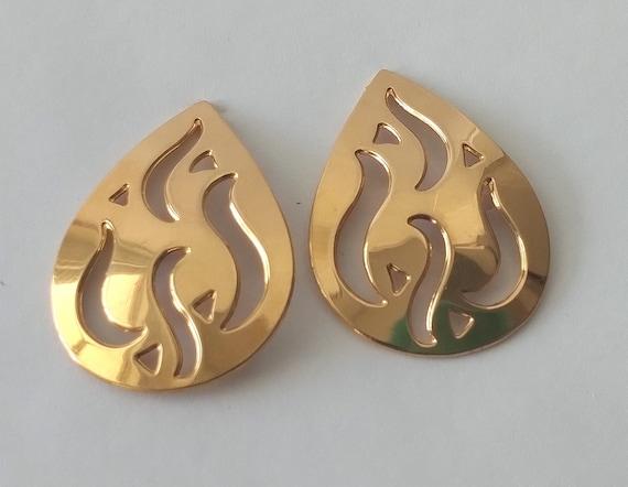 Monet Gold Flame Stud Earrings Mid Century Mod Go… - image 1