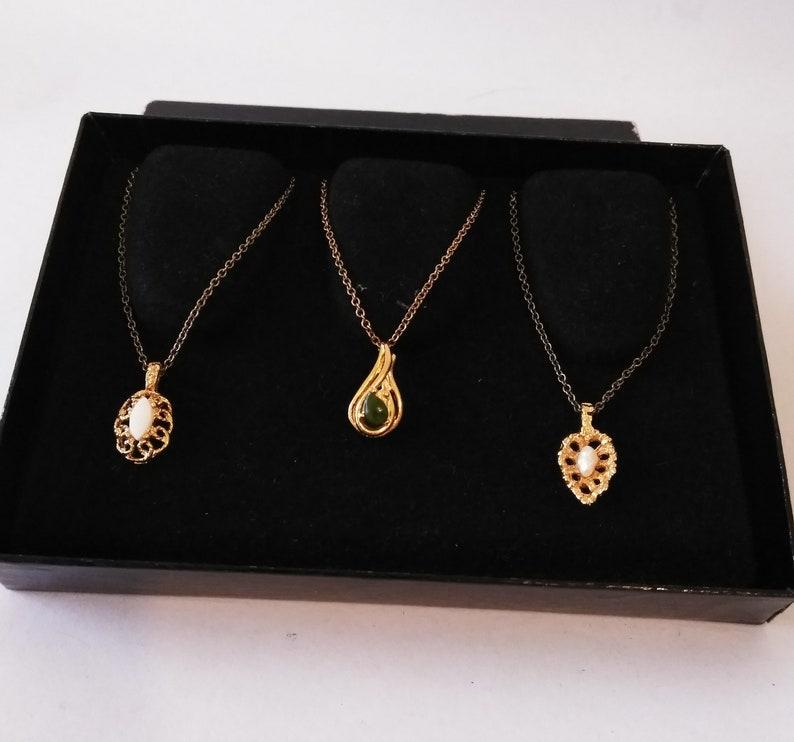 Jade Pendants Vintage Jewelry Pearl Ront\u00e9 of Beverly Hills Gold Plated Gemstone Pendants Set of 3 Gemstone Pendants Genuine Opal