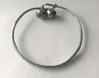 Vintage Silver Gypsy Bangle with Bells, Silver Tone Gypsy Bangle,  Tribal Bangle Belly Dancing Bracelet