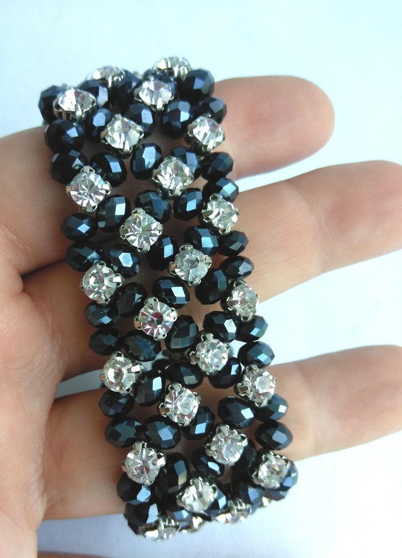 Religious Jewelry Vintage Italy Rhinestone Black Crystal Stretch Bracelet with Holy Family Charm,Silver Tone Oval Holy Charm Bracelet