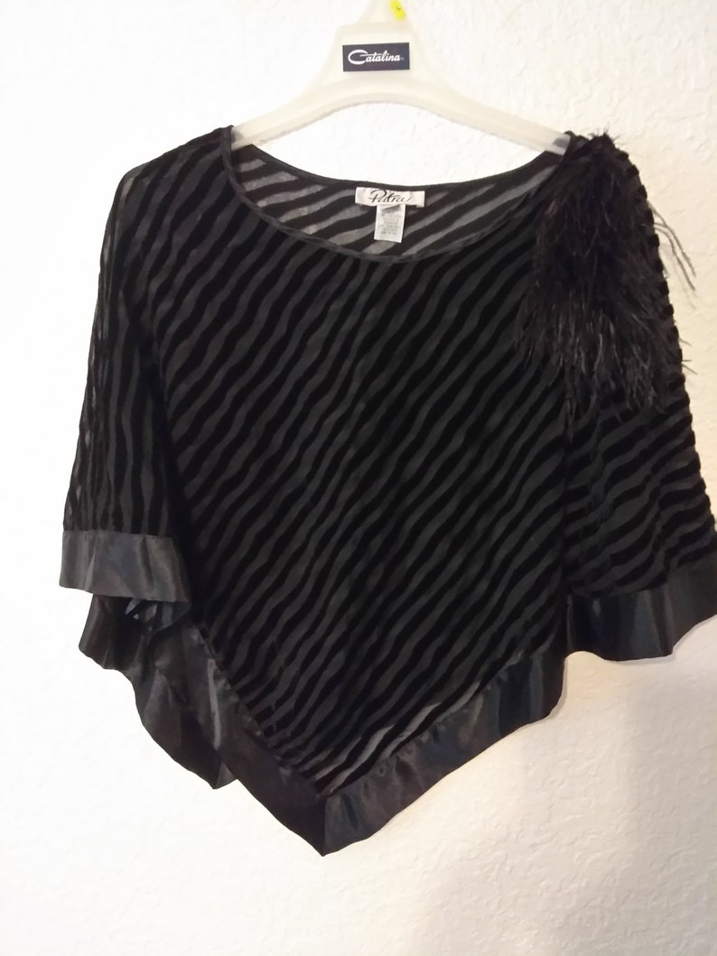 d007e6c33e 1980s Patra Black Velvet Burnout Poncho Ostrich Feather Pom