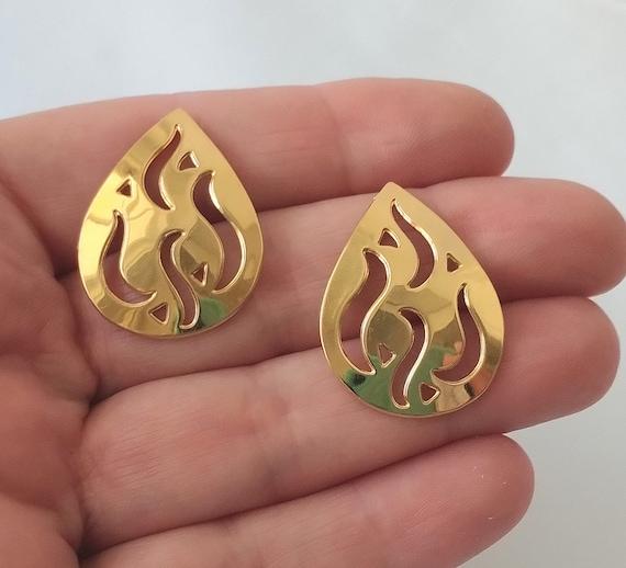 Monet Gold Flame Stud Earrings Mid Century Mod Go… - image 2