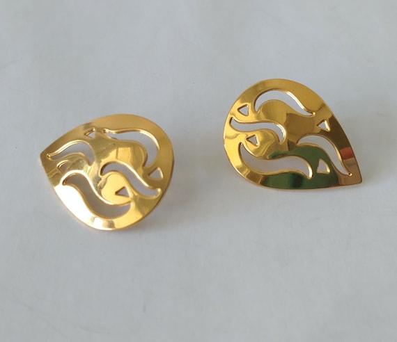 Monet Gold Flame Stud Earrings Mid Century Mod Go… - image 5