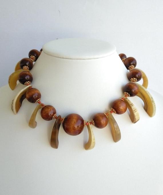 Mid Century Tribal Antler Wooden Bead Spiked Choke