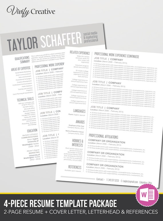 Resume Template Download Editable Instant Download 2 Page | Etsy