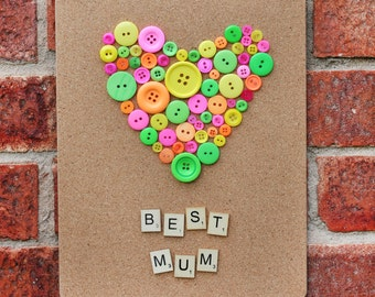 Best mum picture, Button picture, Handmade picture heart, Wall decoration, Hanging handmade picture with button heart